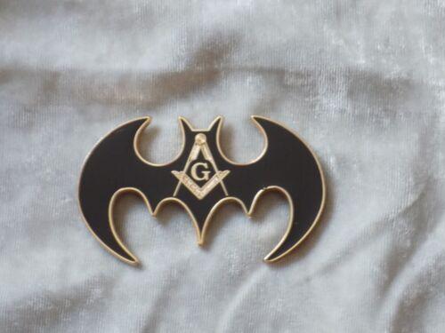 "Masonic 3"" Car Emblem Master Mason Square Compass Bat Shape Fraternity NEW!"