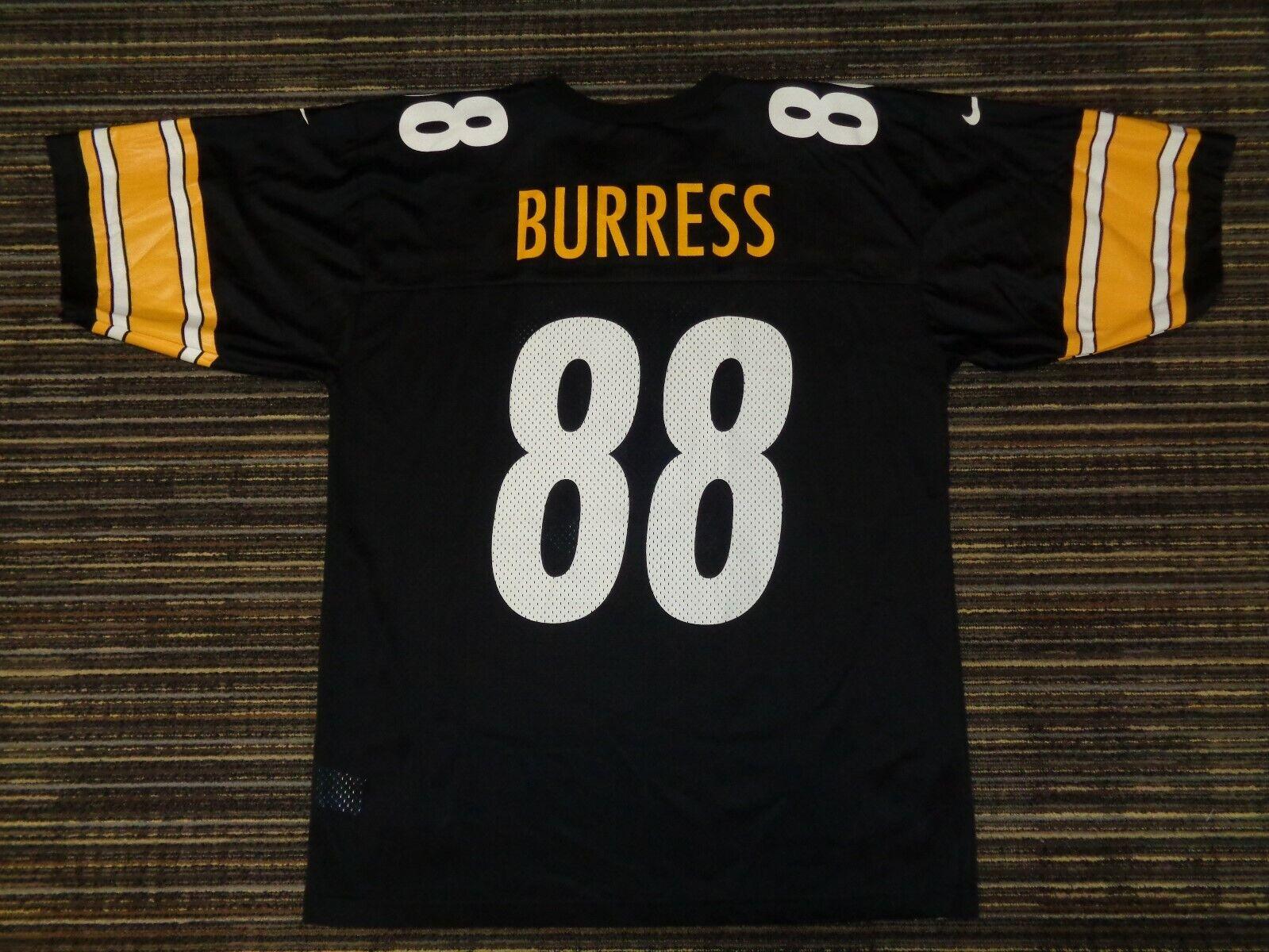 BURRESS 88 PITTSBURGH STEELERS NIKE BLACK MENS NFL GAME FOOTBALL JERSEY SZ LG - $19.99
