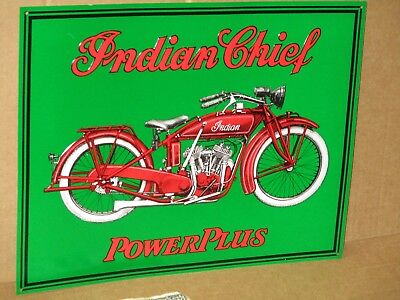 INDIAN CHIEF Power Plus American Motorcycle EARLY BIKE Really Shows Detail SIGN for sale  Boston