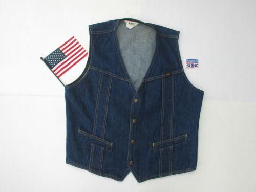 Vintage Mens Lee Dark Blue Denim Vest Snap Up Large Size Made In USA Very Nice!