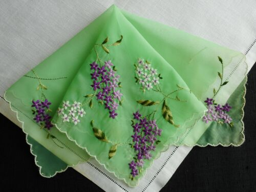 Embroidered lilacs on green  vintage hanky, Hanky #313