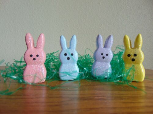 4 Pretty Pastel Easter Bunny  Peeps with glitter sugar effect