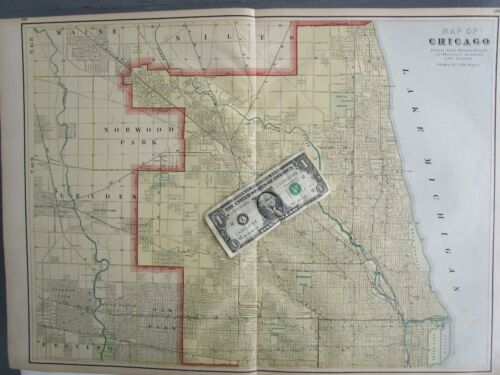 IL 1910 CHICAGO, ILLINOIS City Map. Cram ANTIQUE Yellow Blue. 12th St to Howard