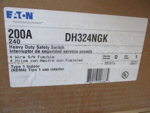 CUTLER HAMMER DH324NGK, 200 AMP 240 VOLT 3Ø FUSIBLE DISCONNECT- NEW