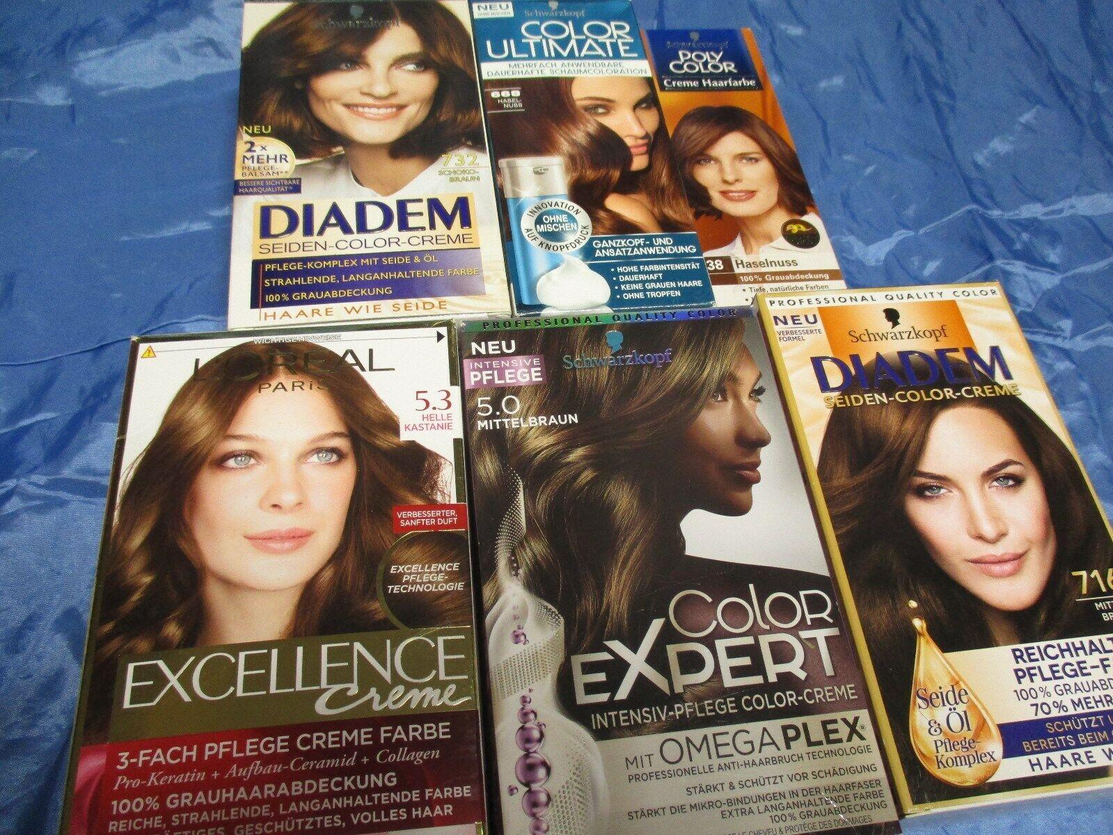 6  x  Haarfarbe  Mix  Mittelbraun , Schoko- , Haselnuss , Kastanie  /3,50 € / E.