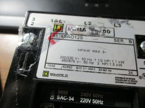 SQUARE D MAGNETIC MOTOR STARTER 8536SAG12S