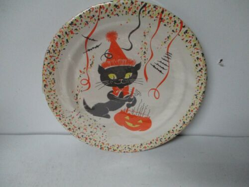 6 Vintage Halloween Party Plates in Unopened Package - Cat with JOL