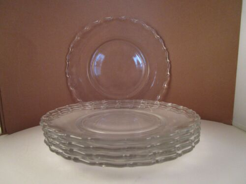 Vintage Fostoria Century Clear Glass Set of 5 Lunch Plates