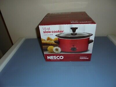 Nesco  Slow Cooker 1.5Qt 120W Removable Ceramic Crock Dishwasher Safe Red