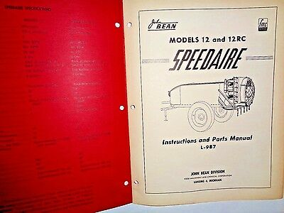 John Bean 12 12rc Speedaire Sprayers Operating Instructionsparts Catalog Manual