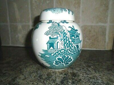 MASONS IRONSTONE CHINA GINGER JAR TEA CADDY TWININGS GREEN