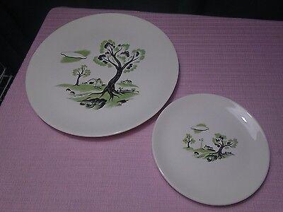 Simplicity Canonsburg China Farm Design Plates (2) Vintage - Farm Plates