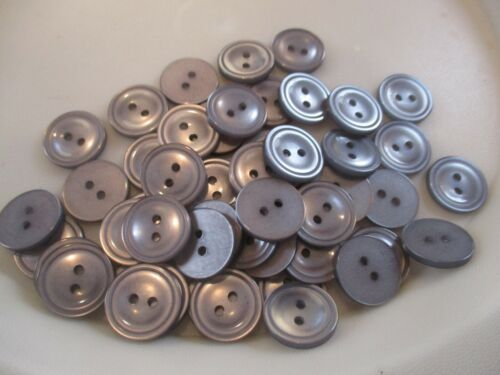 LOT OF 50 GRAY/SILVER COLOR 11/16 INCH 2 HOLE BUTTONS, NEW, #2