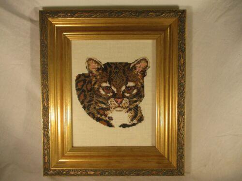 Vintage Finished Needlepoint Grumpy Bengal Cat Ornate Gold Wood Frame