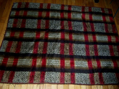 antique mohair sleigh or lap blanket red plaid design