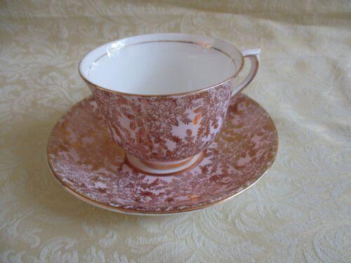 Vintage Colclough Bone China Pink and Gold Gilt Tea Cup & Saucer