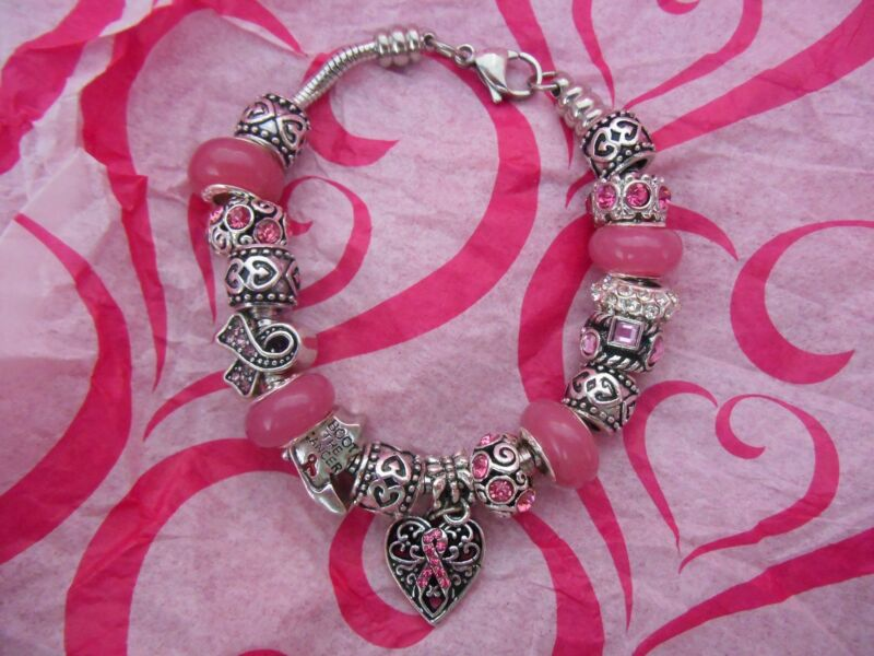 Breast Cancer Awareness Pink Stainless Steel or Zinc Alloy European Bracelet