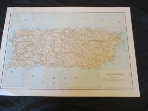 1899 Spanish American War Map of Puerto Rico - SEE MY OTHER MANY MAPS