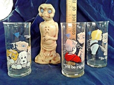 E T The Extra-Terrestrial 3 Vintage 1982 Collector's Glasses Pizza Hut + Ceramic