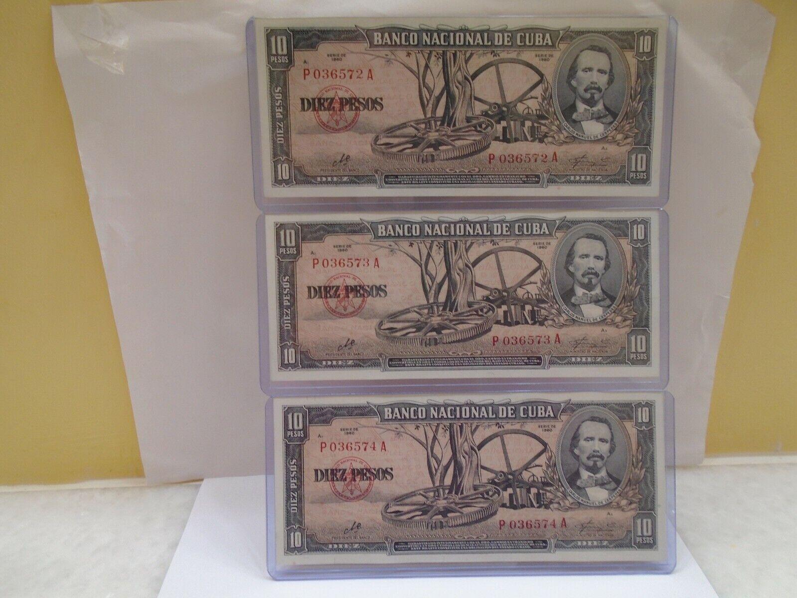 Banco Nacional, 3 10 Banknotes 1960, CONSECUTIVE, UNC, Crisp, Mint. - $24.99
