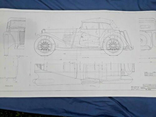 MG TC Factory Body Blueprint Full Sized 30 x 58 inch Copy