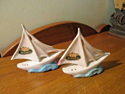ROSEMEADE SAILING SHIP BOAT SALT & PEPPER SHAKERS W/ORIGINAL CORKS & LABELS