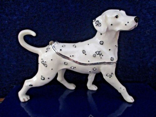 DALMATIAN ENAMELED  BEJEWELED TRINKET BOX & MATCHING NECKLACE    62612