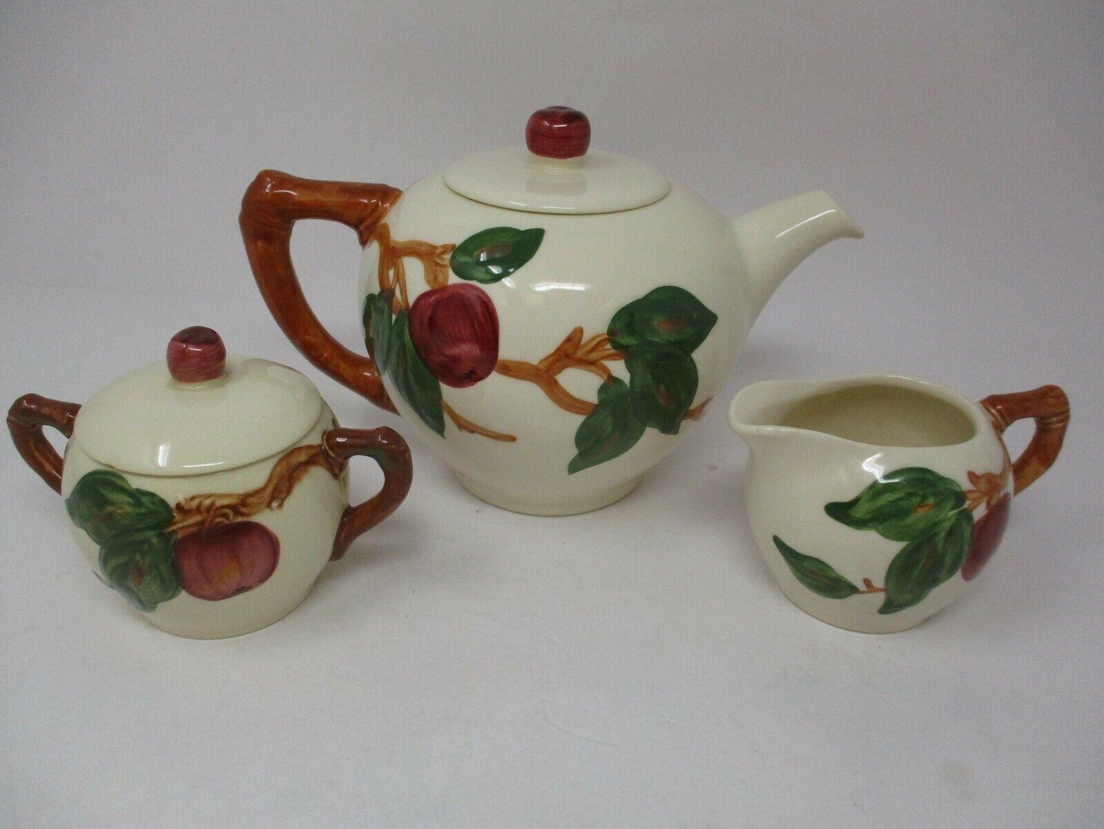 Vintage Franciscan Apple Teapot Creamer & Sugar Set