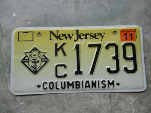 New Jersey 2000 K of C  Columbianism license plate  #  1739
