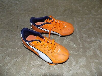 NEW YOUTH PUMA ESQUADRA FG SIZE 11Y ORANGE WHITE BLACK SOCCER CLEATS
