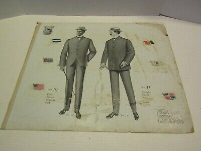 ANTIQUE VICTORIAN ADVERTISING PAPER CARDBOARD TIME TRIED TAILORING MENS SUITS 4