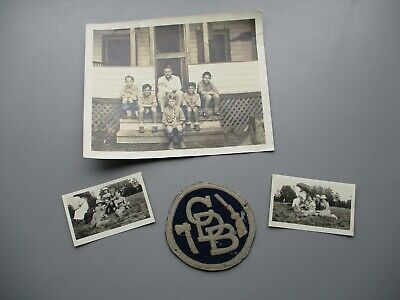 """1930's UNKNOWN """"CDB"""" Patch with Hatchet, Rifle/Photograph of boy wearing it lot"""
