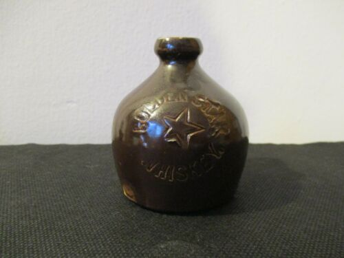 Pre Prohibition Advertising Stoneware Jug Bottle Golden Star Whiskey Albany NY
