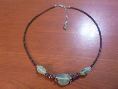 """Vtg Sterling silver brown and light green glass bead necklace 16-18"""" 12.6 grams"""