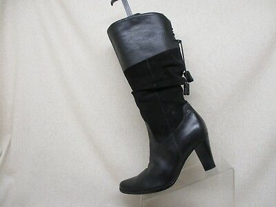 A.N.A. Black Leather Suede Side Zip Slouch Mid Calf Fashion Boots Size 8.5 (Side Zip Fashion Boots)