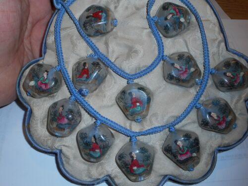 Antique Asian Necklace & Bracelet SET MIB Hand Painted Glass hanging Lanterns