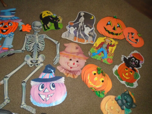 12 piece lot Halloween Decorations die cut-skeleton-pumpkins/scarecrows