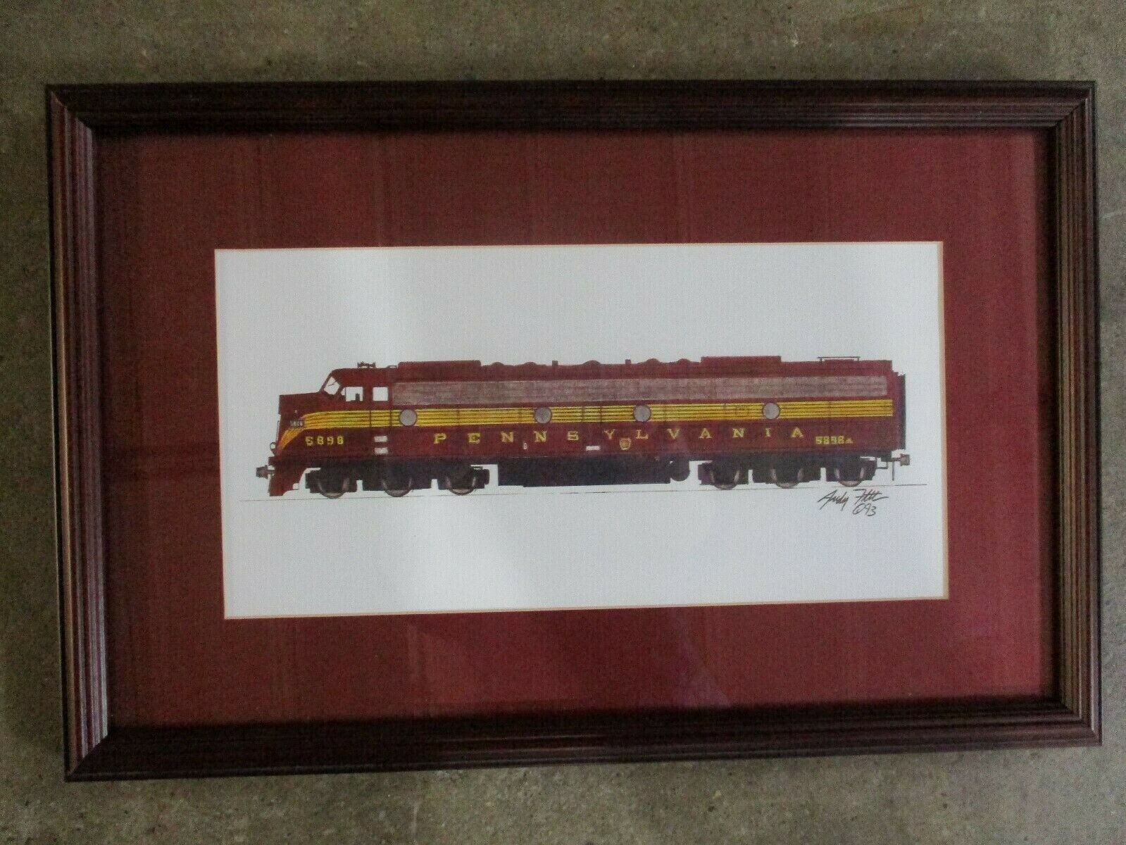 Pennsylvania Railroad Framed Matted Watercolor Train 5898 Andy Fletcher 1993