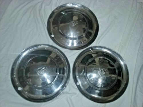 """1953 Plymouth Hub Caps 15"""" Stainless Set Of 3   -   HC349"""