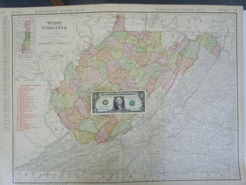 WV DATED 1911 WEST VIRGINIA RAILROAD Wall Map 1910s BUFFALO CREEK & GAULEY RR