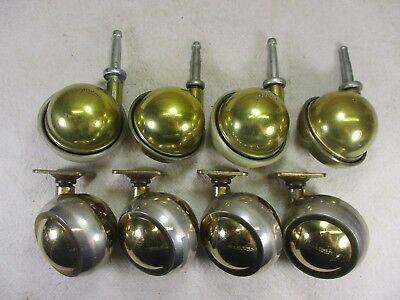 Vintage Brass Swivel Ball Sphere Caster Wheels Bassick Shepherd Lot Of 8