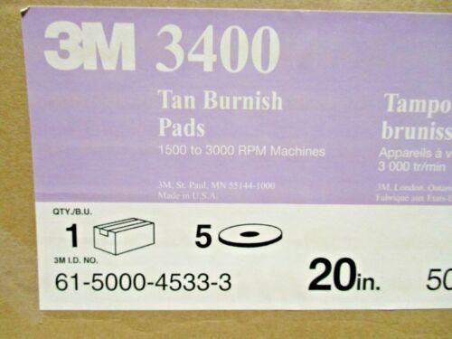 """3M  3400 Tan Burnish  20"""" Floor Buffer Pad  Box of 5"""