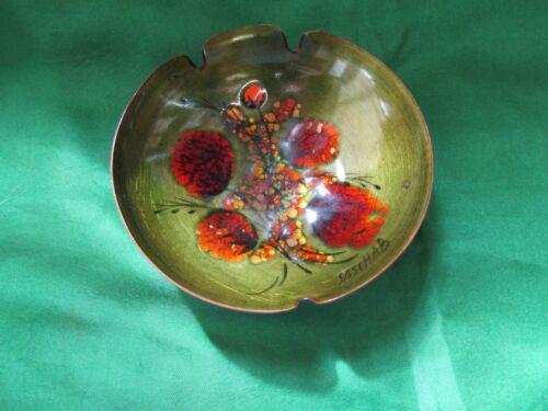 VTG Sascha Brastoff Painted Enamel Mid Century Flowered Pottery Ashtray. C588