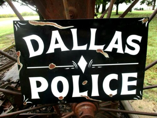 Vintage Painted DALLAS POLICE STATION Department Sign TEXAS Law Highway Patrol
