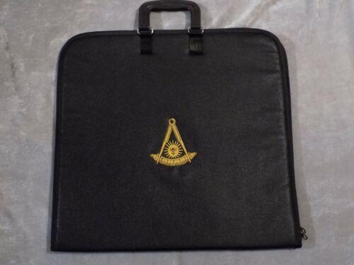 Black Past Master No Square Masonic Apron Case Freemason Gold Logo Jewels NEW!