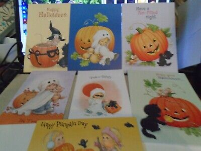 One Ruth Morehead HALLOWEEN Greeting Card with Kids & Cats You Choose Design