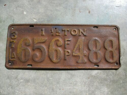 Louisiana 1937  1and 1/2 TON  F/P license plate #  656 488