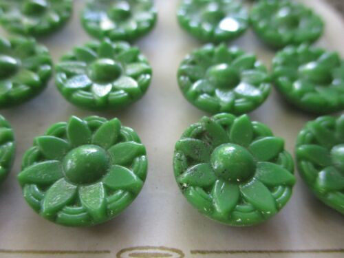 """Card of 24 ~Vintage 1/2""""  green  flower  Glass Buttons~new/old stock"""