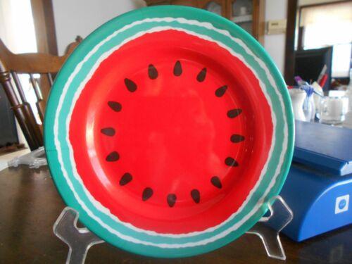 "Watermelon Slice Salad Dessert Luncheon Plates (pairs) 8"" Melamine Red Green !"