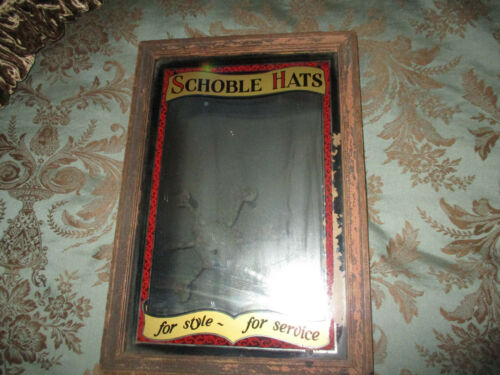 ANTIQUE FRANK SCHOBLE HATS ADVERTISING REVERSE PAINTED MIRROR PHILADELPHIA RARE